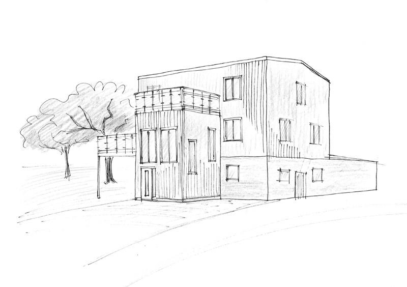 Entréutbyggnad till funkisvilla